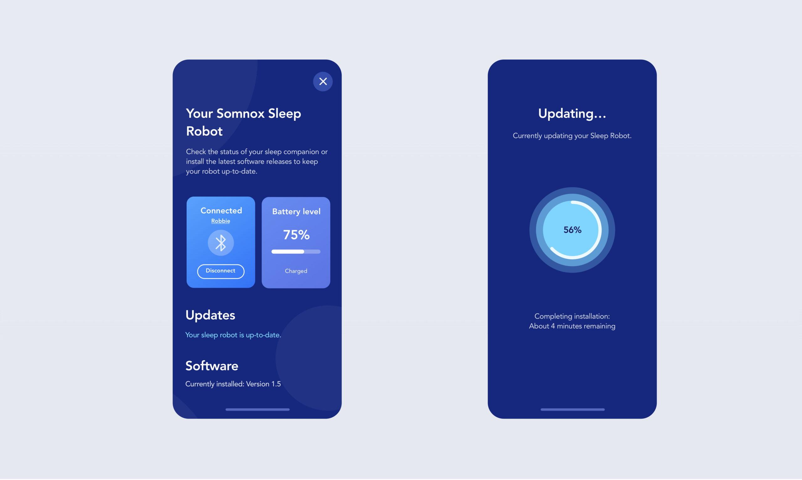 Somnox-Statusscreen